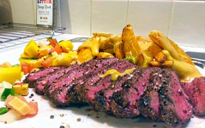 Grilled Blade with and Queso Steak Fries