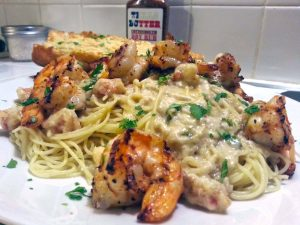 Texas Butter Recipe Grilled shrimp and Alfredo Sauce