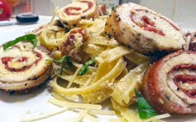 Bacon Wrapped Chicken Pepperoni Pinwheels